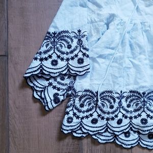 Vintage Tops - Embroidered bell sleeve striped boho blouse L